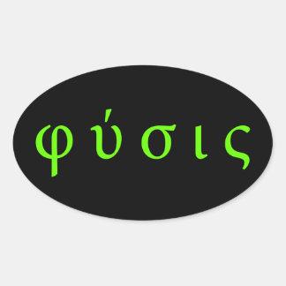 φύσις : physics greek symbols oval sticker