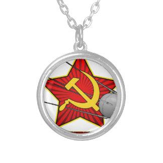 Спутник Sputnik poster art Round Pendant Necklace
