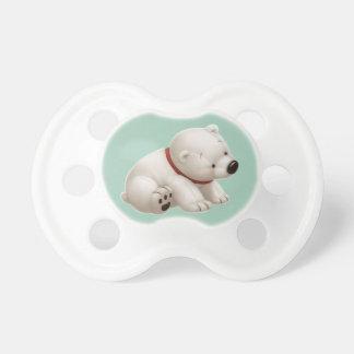 Сharming baby polar bear  (green pacifier) pacifier
