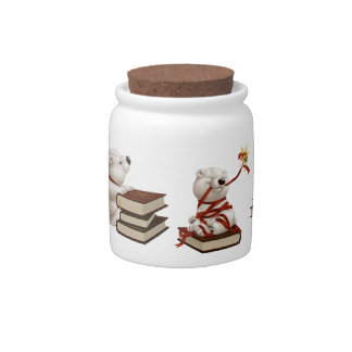 Сharming baby polars bear with books candy dishes