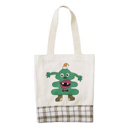 Сute fir-tree monster zazzle HEART tote bag