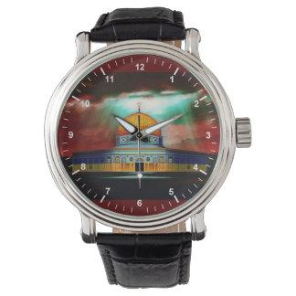 المسجدالاقصى del cuero del vintage del negro de la relojes