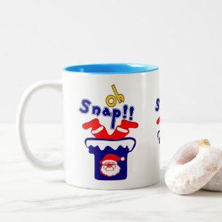 🎅ټOh! Sanp, Clumsy Santa Stuck in a Chimney Fab Two-Tone Coffee Mug