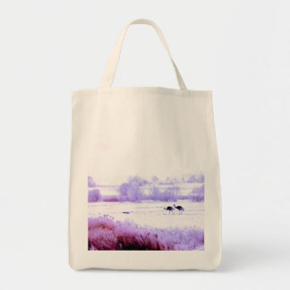 ♠»¦๑A Lovely Pair of Cranes Grocery Tote Bag ๑¦«♠