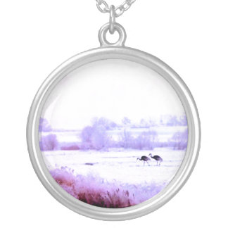 ♠»¦๑A Lovely Pair of Cranes  Sterling Silver N๑¦«♠ Round Pendant Necklace