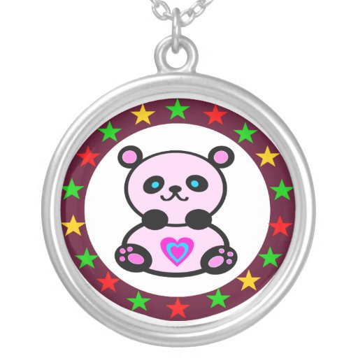 »¦๑Adorable Pink Panda Bear Silver Necklace๑¦« Jewelry