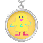 ♠»¦๑Cute Bald Headed Chick Silver Necklace๑¦«♠ Pendant