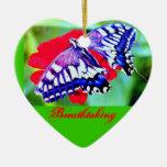 ♠»¦๑TigerSwallowtail Butterfly  Heart-Ornament๑¦«♠ Christmas Tree Ornament