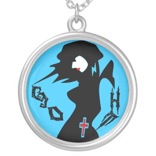 ღ╬♥Goth Girl Cool Sterling Silver Necklace♥╬ღ Round Pendant Necklace