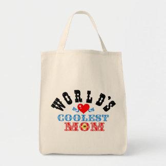 """ღ╬♥""""World's Coolest Mom"""" Grocery Tote♥╬ღ Tote Bag"""