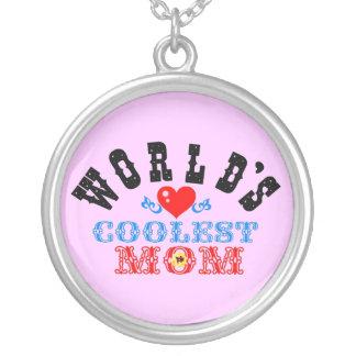 ღ╬♥World's Coolest Mom Silver Necklace♥╬ღ Round Pendant Necklace