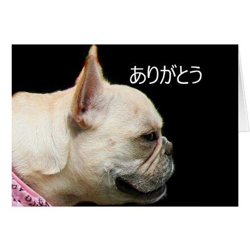 ありがとう Thank You French Bulldog Greeting Card