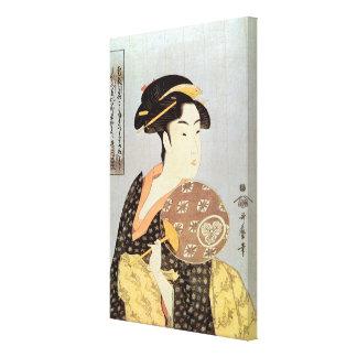 うちわを持つ女, 歌麿 Woman with Round Fan, Utamaro, Ukiyo-e Canvas Print