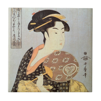 うちわを持つ女, 歌麿 Woman with Round Fan, Utamaro, Ukiyo-e Ceramic Tile