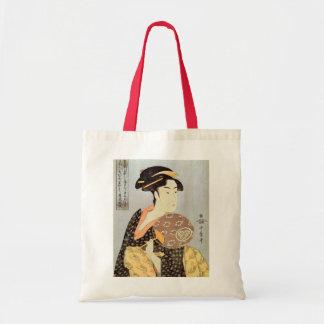 うちわを持つ女, mujer con la fan redonda, Utamaro del 歌麿 Bolsas Lienzo