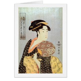 うちわを持つ女, mujer con la fan redonda, Utamaro del 歌麿 Tarjeta