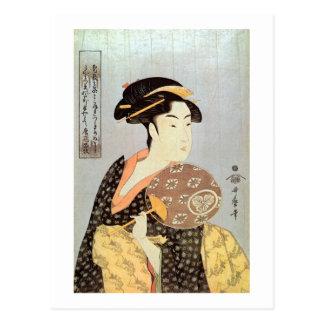 うちわを持つ女, mujer con la fan redonda, Utamaro del 歌麿 Tarjeta Postal
