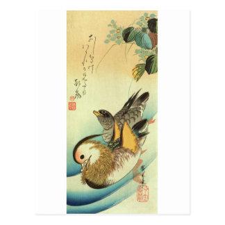 おしどり, pato de mandarín del 広重, Hiroshige, Ukiyo-e Tarjeta Postal