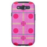 かわいらしいピンクの水玉模様の格子縞 SAMSUNG GALAXY SIII COVER