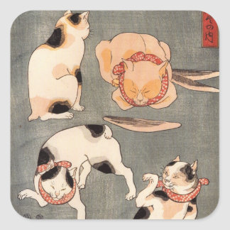 たとえ尽の内(上), 国芳 Japanese Cats(1), Kuniyoshi, Ukiyo-e Square Sticker