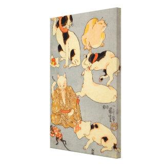 たとえ尽の内(下), 国芳 Japanese Cats(3), Kuniyoshi, Ukiyo-e Canvas Print