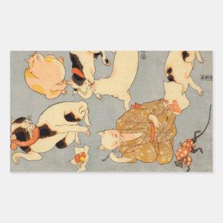 たとえ尽の内(下), 国芳 Japanese Cats(3), Kuniyoshi, Ukiyo-e Rectangular Sticker