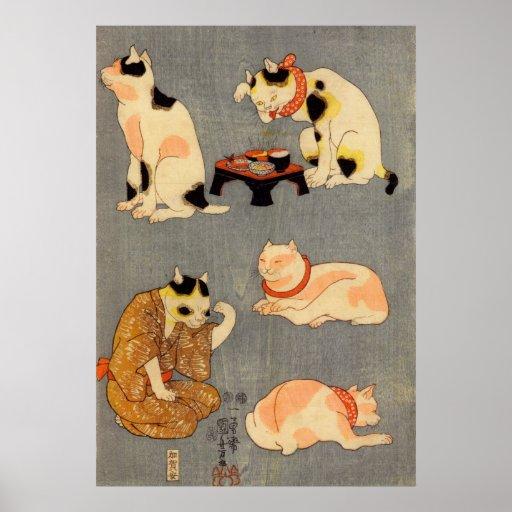 たとえ尽の内(中), 国芳 Japanese Cats(2), Kuniyoshi, Ukiyo-e Print