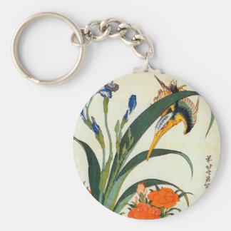 アヤメにカワセミ, 北斎 Iris and Kingfisher, Hokusai, Ukiyo-e Keychain