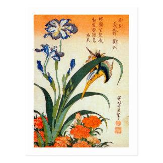 アヤメにカワセミ 北斎 Iris and Kingfisher Hokusai Ukiyo-e Postcards