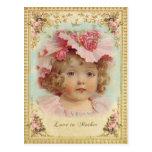 アンティーク・ポストカード-ピンクの帽子を被った少女