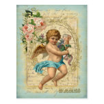 アンティーク・ポストカード-天使の贈り物、セージグリーン・ブルー