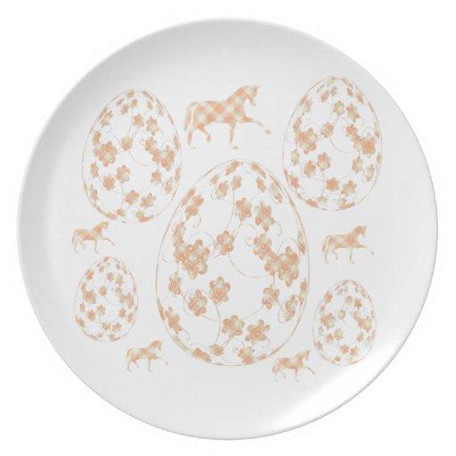 イースターエッグと馬 ディナー皿