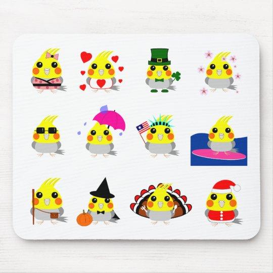 オカメインコ Cockatiel bird holiday designs Mouse Pad