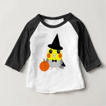 オカメインコCockatiel parrot as witch for Halloween Baby T-Shirt