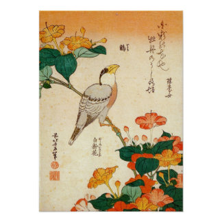 オシロイバナに小鳥, 北斎 Bird and Mirabilis Jalapa, Hokusai Poster