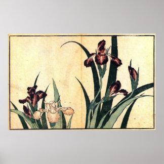 カキツバタ, 北斎 Irises, Hokusai, Ukiyo-e Poster