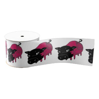 カレーの大好きな、黒豚の名前はチェルシー。black pig Chelsea. Grosgrain Ribbon