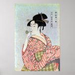 ガラスの笛を吹く女, 歌麿 Glass Whistling Woman, Utamaro Poster