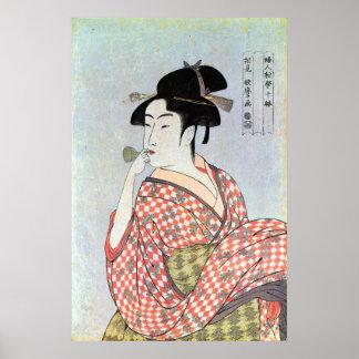 ガラスの笛を吹く女, mujer que silba de cristal del 歌麿, Utam Posters