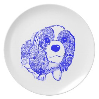 キャバリア・キング・チャールズ・スパニエル Cavalier King Charles Spanie Dinner Plates