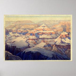 グランド・キャニオン, Grand Canyon, Yoshida, Woodcut Poster