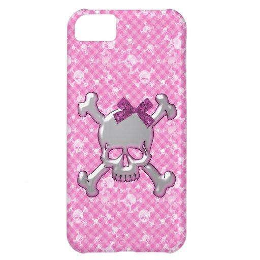 ケースのかわいいスカル del iphone 5 del リボンのピンクの