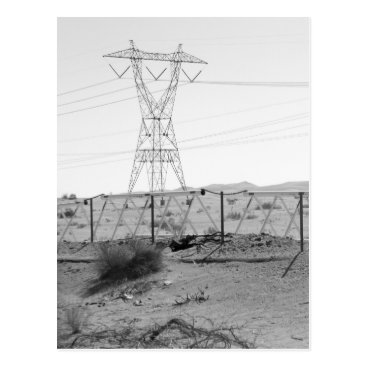 USA Themed ¯\_(ツ)_/¯ Shrug Electricity Desert California 2 Postcard