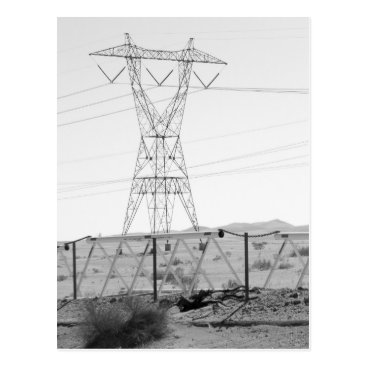 USA Themed ¯\_(ツ)_/¯ Shrug Electricity Desert California 3 Postcard