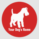 テリア personalizado del ・ del ウェルシュ de Terrier galés Pegatinas Redondas