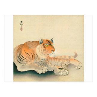 トラ, 小原古邨 Tiger, Ohara Koson, Ukiyo-e Postcard