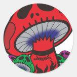 ドクロキノコ 〜WHITEROCK〜 丸形シール・ステッカー