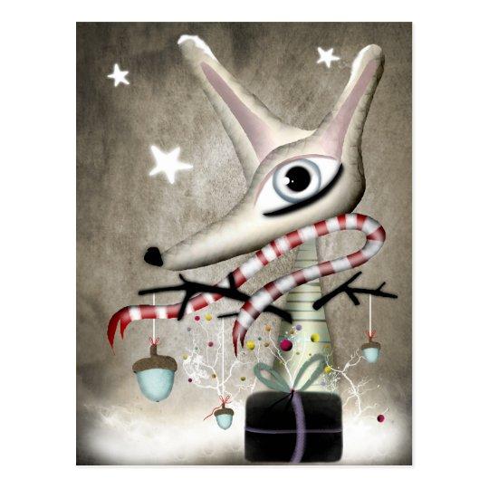 ドングリ Winter Christmas acorn new year fox Postcard