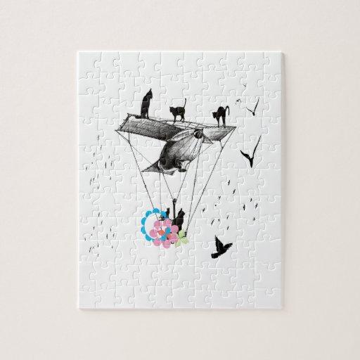 ネコと飛行機 フォトパズル