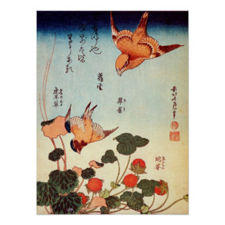 ヘビイチゴに小鳥, 北斎 Bird and Mock Strawberry, Hokusai Poster